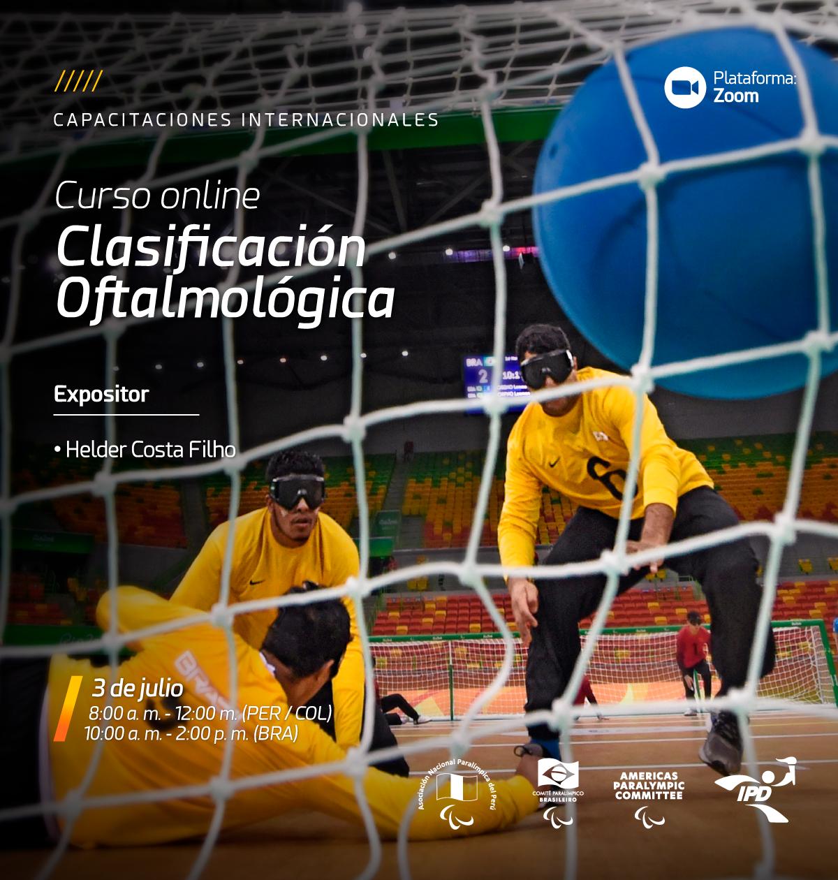 Imagem do cartaz do curso com a foto tirada atras do gol de uma partida de goalball com três atltetas vendados atuando.