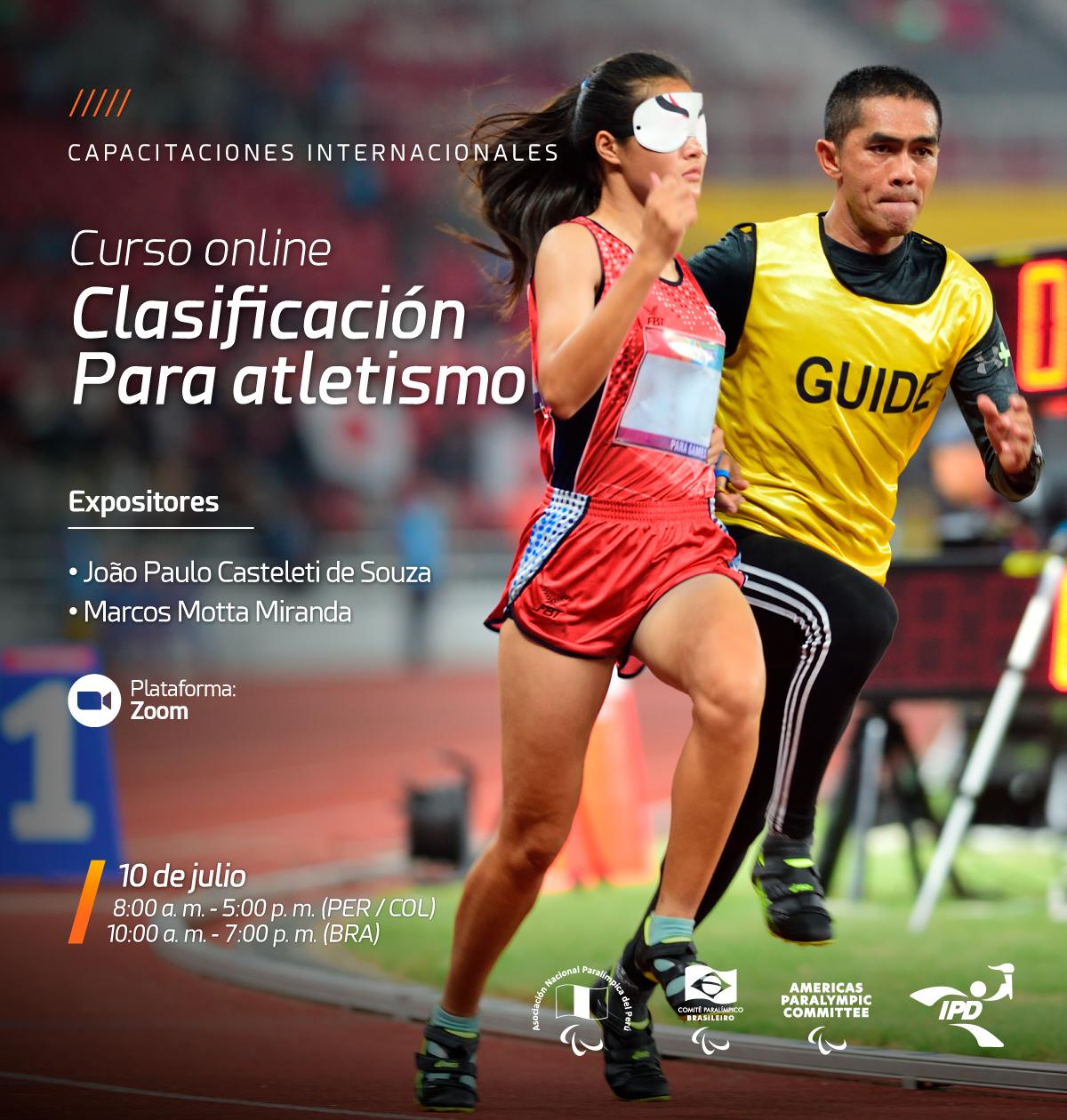 Imagem do cartaz do curso com a foto de uma atleta deficiente visual na pista de corrida com o seu atleta guia.