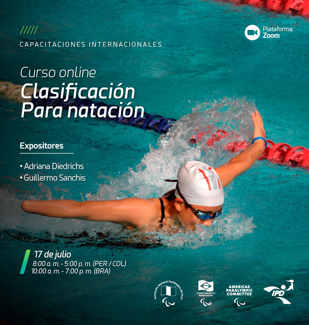 Imagem do cartaz do curso com a foto de uma atleta deficiente físico executando um nado borboleta.