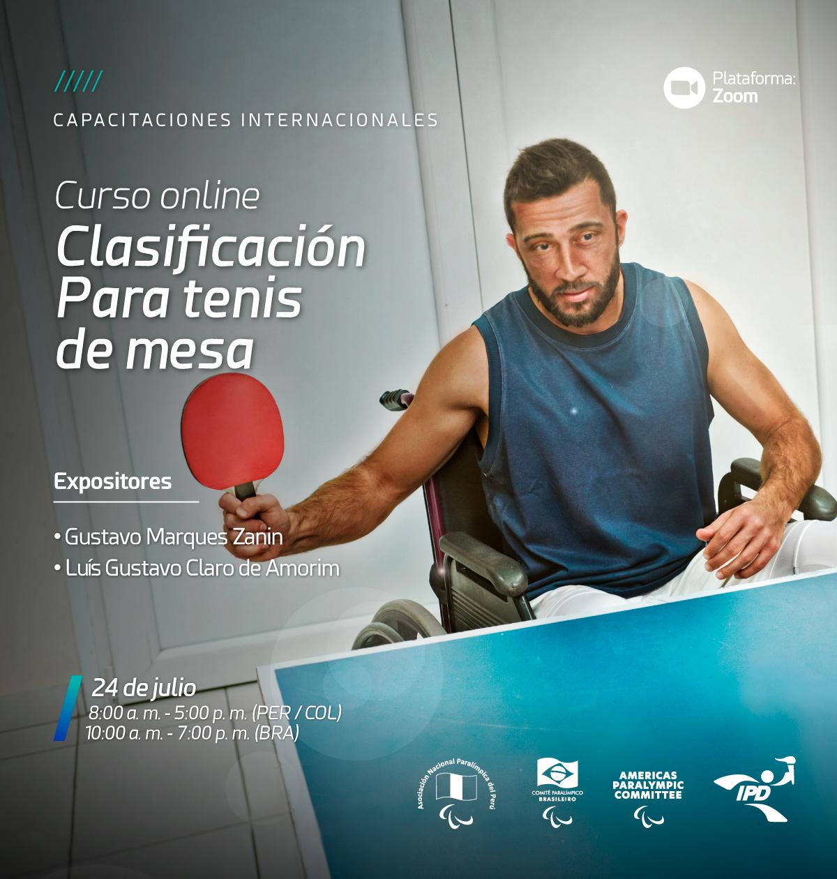 Imagem do cartaz do curso com a foto de uma atleta cadeirante com uma raquete na mão durante uma partida de tênis de mesa.